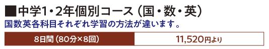 中学1・2年個別コース(国・数・英)